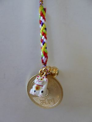 1 Pc. Key Chain Welcome Lucky White Cat w/Asian coin,Gold Bell Charm/Made Japan