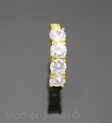 14G Clear Cz Reverse Yellow Gold Plate Surgical Steel Navel Belly Bar Ring