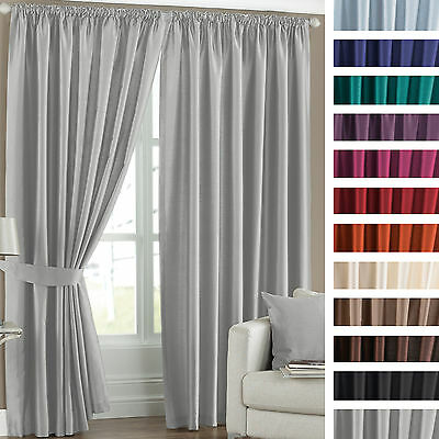 Faux Silk Thermal Coated Pair of Ready Made Pencil Pleat Curtains with Tiebacks