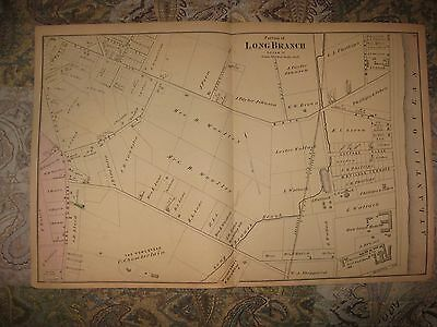 Antique 1873 Long Branch Saloon West End Monmouth County New Jersey Handcolr Map