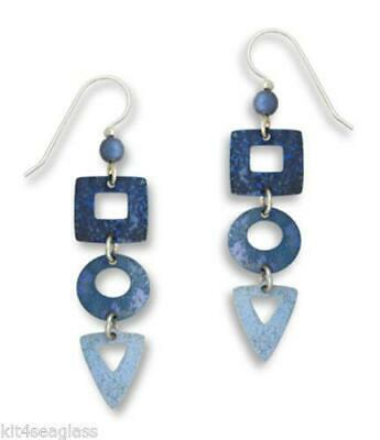 Adajio 3 Part Denim BLUE Earrings STERLING SILVER Square Circle Triangle + Box