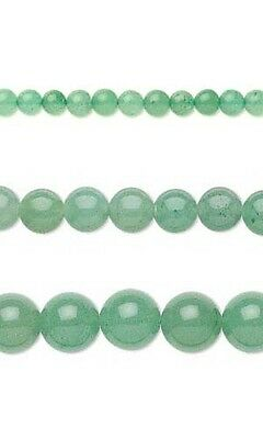 Lot of 50 Round Green Aventurine Natural Loose Gemstone Beads w/Hole Small - Big