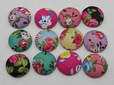 50 Mixed Color Flatback Fabric Flower Covered Buttons 12mm Round Cabochon DIY