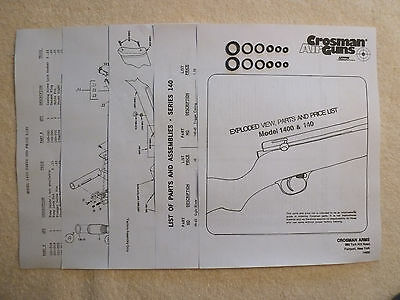 Crosman 1400 / 140 Two O-Ring Seal Kits + Exploded View, Parts List & Seal Guide