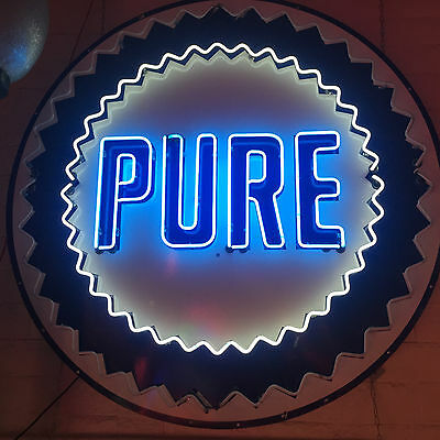 1950s Original Pure Oil Logo Porcelain Sign W/ restored Neon Animated Blinking