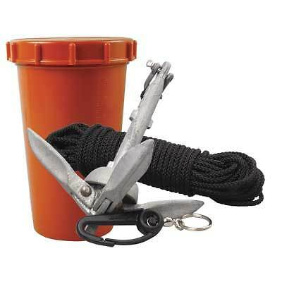Boat Marine Anchor Kit 1.5 Lb Folding Anchor 50 feet Line Container Snap Hook