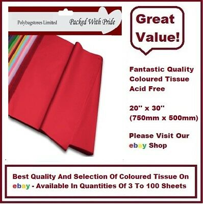 LUXURY QUALITY COLOURED TISSUE PAPER ACID FREE - 750mm x 500mm - 14 COLOURS