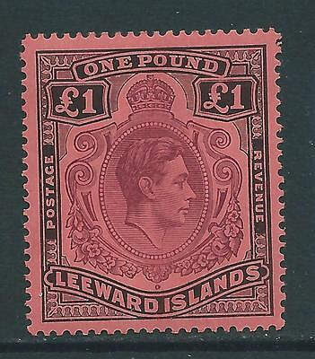 LEEWARD ISLANDS SG114a 1942 £1 PURPLE & BLACK ON CARMINE p14 MTD MINT