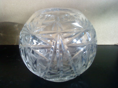 Stunning cut Crystal Rose bowl/ tealight holder/ vase. 10cm high x 11cm across