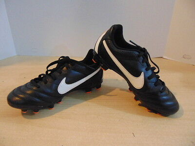 Soccer Shoes Cleats Childrens  Size 1 Nike Tiempo Black Orange