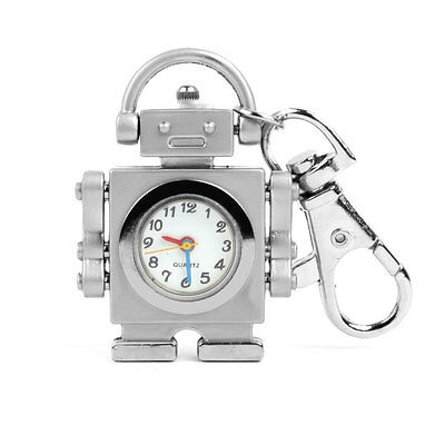 NEW Silver Tone Robot Shape Key Ring Keychain Pocket Quartz Watch Kids Gift