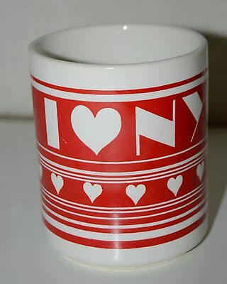 Vintage I Love NEW YORK NYC Red & White Colorful 1980s Coffee Mug Hearts