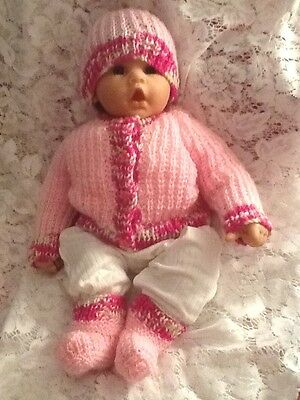 Beautiful Handknitted Set In /pale Pink And Verigated Pinks Baby 0 To 3 Months