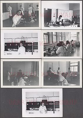 Lot of 7 Vintage Photos Men & Girls Science Chemistry Lab w/ Microscopes 662359