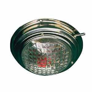 "Boat Marine RV 6-3/4"" Base Day/Night Stainless Dome Light  Clear and Red Circuit"