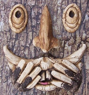 Garden Accent Tree Face Proverbial Speak No Evil Wall Fence Shed NEW
