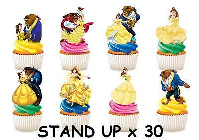 30 Beauty and The Beast STAND UP Cupcake Fairy Cake Toppers Edible Decorations