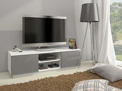 Modern TV stand unit cabinet high gloss front & matt body white / black / grey