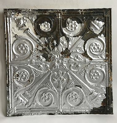 "24""x 24"" Antique Ceiling Tin Silver *See Our Salvage Videos  C62a  Torches"