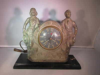 Art Deco Era Seth Thomas Belwyn Cast Metal Figural Clock. Western