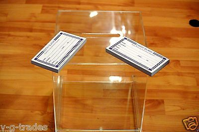 Medium clear acrylic raffle CONTEST Ballot Donation Box 9X9X9 WITH 200 FORMS