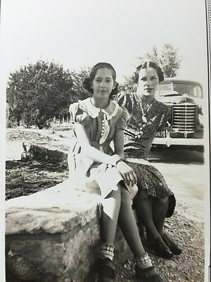 Vintage Original Black & White Photo Young Ladies Posing In Front Of Classic Car
