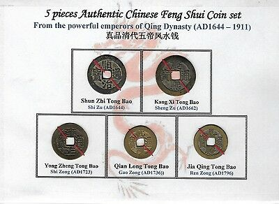 China, Qing, 5 pcs authentic Feng Shui coins from the powerful emperors