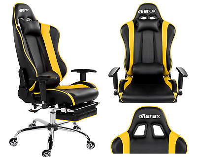 High Back Racing Gaming Office Chair PU Leather Reclining Chair Computer Desk