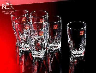 RCR Fior Di Loto Tumblers 40Cl Set Of 6 Clear Glassware Drinkware Bareware New