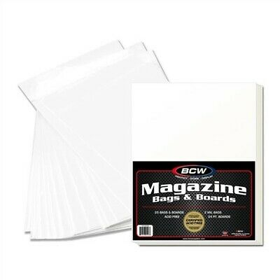 50 BCW Premade Magazine Clear Archival Poly Bag + Acid Free Backer Board Combos