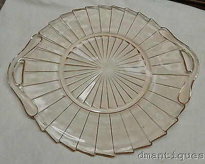 Antique 1930's Elegant Pink Depression Glass Cake Plate Tray Sierra Pinwheel