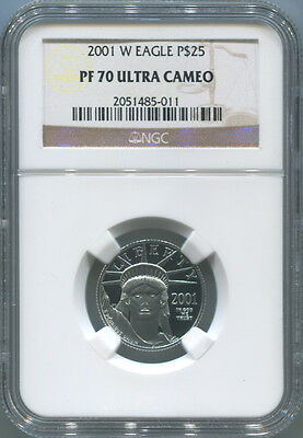 2001 W $25 Platinum Eagle, 1/4 Oz, NGC PF70 Ultra Cameo. West Point Mint Proof!