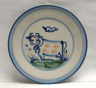 """M.A. HADLEY ART POTTERY - COUNTRY SCENE BLUE Pattern - 11"""" DINNER PLATE - COW"""