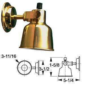Boat Marine RV Large Brass Berth Light Cabin Light  15 W 12V Laquer Coated