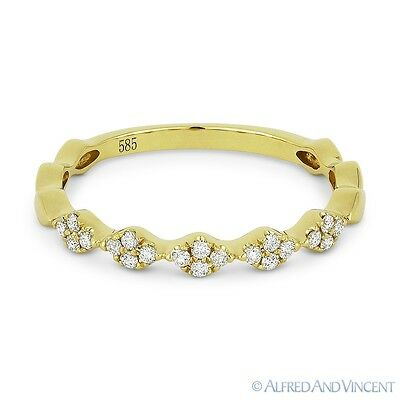 0.14ct Round Cut Diamond Cluster Band 14k Yellow Gold Stackable Anniversary Ring