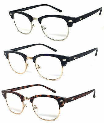 80s vintage horned rim half frame clubmaster clear lens reading glasses re77