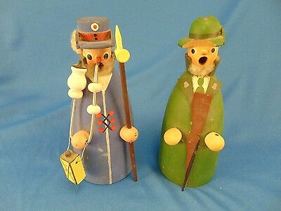 """Pair wooden men figurines hand crafted Colonial style art dolls 6 1/2"""""""