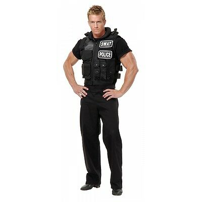 SWAT Team Vest Costume Accessory Adult Police Cop Halloween Fancy Dress