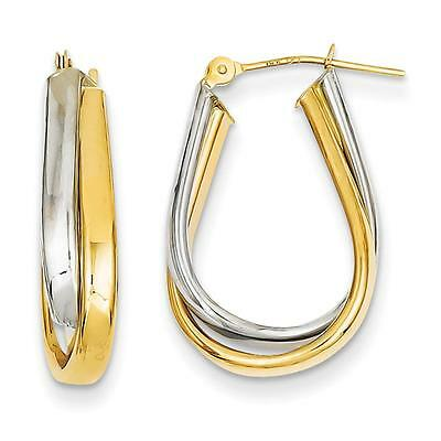 14k Two Tone Gold Double Polished Hinged Post Tubular Hoop Earrings 12mm x 3mm
