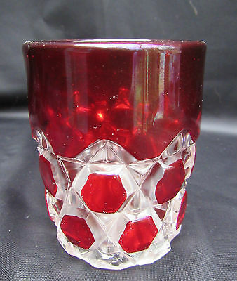 1898 EAPG Pattern Glass Ruby Stained Red Block Tumbler