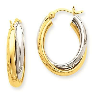 NEW 14k Two-Tone Gold Polished Double Oval Hoop Hinged Post Earrings 13mm x 4mm