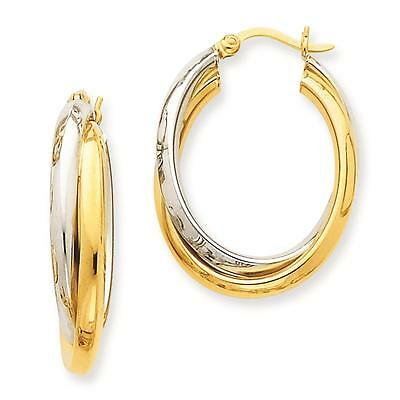 NEW 14k Two-Tone Gold Polished Double Oval Hoop Hinged Post Earrings 16mm x 6mm