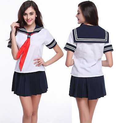 Women Japanese High School Girl Sailor Fancy Dress Uniform Costume Outfit