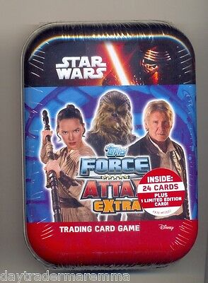 STAR WARS - Force Attax EXTRA Tin, 24 cards & 1 Limited Edition card (SOLO, REY)