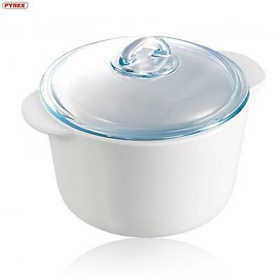 Pyrex Flame Vitro-Ceramic Round Casserole With Glass Lid 2L Cookware Kitchen New