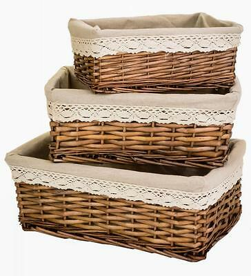 e2e Antique Brown Wicker Shallow Storage Basket with Canvas Liner & Lace Edging