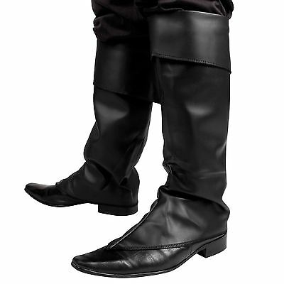 Mens Black Boot Top Covers Santa Medieval Peter Pan Pirate Fancy Dress Costume