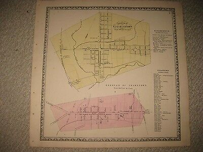 Antique 1864 Elizabethown Adamstown Lancaster County Pennsylvania Map Detailed N