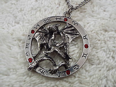 Silvertone Red Rhinestone Astological Zodiac Dragon Pendant Necklace (C26)