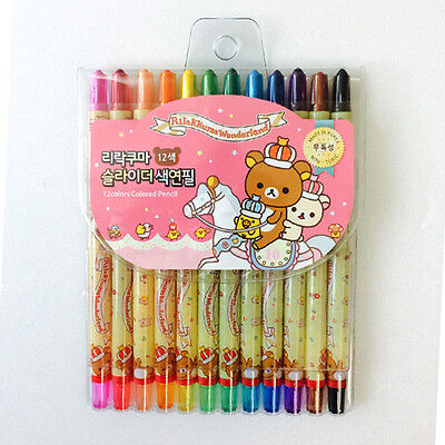 12colors/set Cute Rilakkuma Wonderland Color Pencil Twistable Non-Toxic Drawing